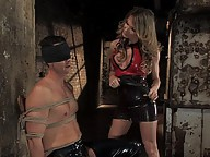 TS Kelly Shore in latex ass fucks bound slave
