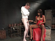 Ts Natassia Dream beats her slave ass and fucks him hard
