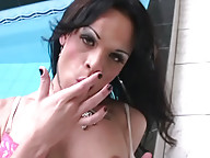Horny shemale strokes in hot tub