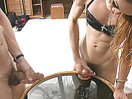 Asian ladyboy squirts cum on glass table