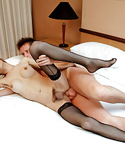 Oriental tranny whore pumped with bare sperm