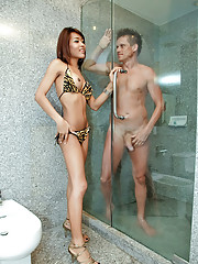 Raw fucked ladyboy ass dribbles warm cum