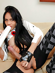 Hung horny ladyboy plays naughty night nurse