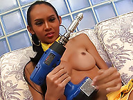 Bold ladyboy licking her pole clean after a drill