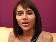 Lusty ladyboy mixing her joy juices with veg juice