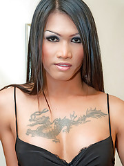 Shemale brunette Mena shows her tattooed cleavage