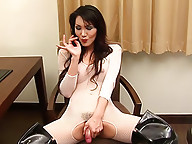 Ladyboy goddess Valencia wanks to drop a jizz load