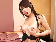 Young ladyboy dildo fucks her tight butt