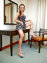 Ladyboy Tan hikes up her skirt playing cock-tease
