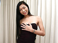 Tall slim ladyboy spreads her tight ass