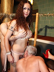Transsexual babe Nikki in a hot UK gangbang