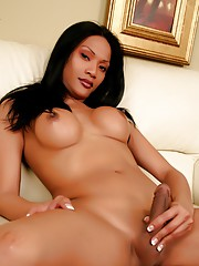 Busty exotical transsexual stripping and posing her cock