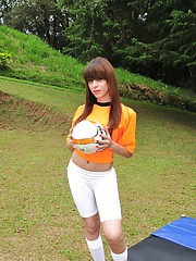Adorable transsexual stripping on the football court