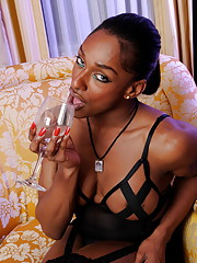 Irresistible black transsexual Natalia Coxxx stripping