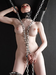 Naughty transsexual Sarina posing in latex and chains