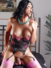 Beautiful tgirl Vaniity fucking her asshole with a toy