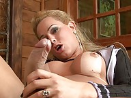 Horny Rackel stroking off her enormously big dick