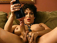 Dirty maid Kourtney experimenting with a penis pump