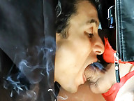 Naughty TS Jasmine getting her cock sucked while smoking