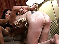 Tied up Mandy gets hardly punished by Hollie and Foxxy