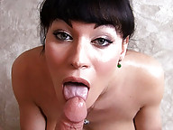 Tempting Mia Isabella giving a hot blowjob