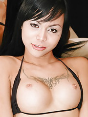 Ladyboy babe strips and squirts her load