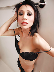Kinky ladyboy covers slim body in chocolate