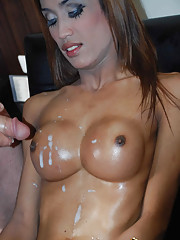 Shemale slut gets tits jizz covered