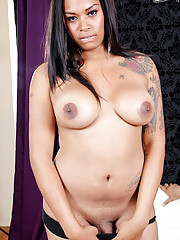 Sexy ebony tranny gets ass-fucked
