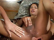 Two super hot tgirls playing with their huge cocks