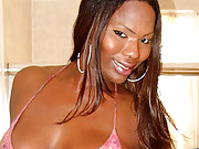 Black tranny Aubria oils up her big tits and thick dick