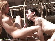 Horny Mia Isabella playing with a sex change tranny in the pool