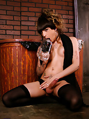 Busty tgirl Kelly posing as a naughty alley cat
