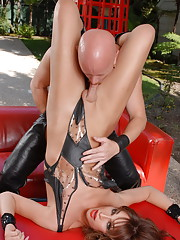 Wild tgirl Jonelle having a dirty oral with a guy