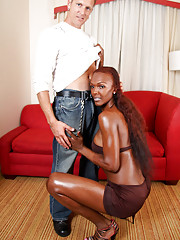 Horny ebony TS gets fucked!