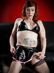 TMILF Jasmine posing in stockings and PVC