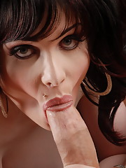 Beautiful tgirl Sarina Valentina giving a hot blowjob