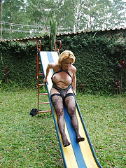 Nature loving tranny plays with shecock