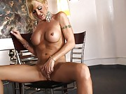 Hot busty transsexual masturbating