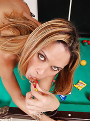 Horny shemale cums on billiard table
