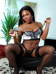 Chocolate hottie Gabrielle posing in stockings