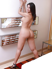 Brunette sweetheart Milena stripping and posing