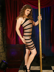 Naughty stripper Tiffany posing by the pole