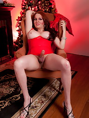 Tempting xmas girl Wendy posing her hard cock