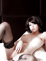 Big titted transsexual Sarina Valentina posing