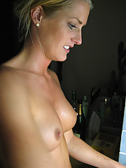 Photos of a sexy wife topless around their house