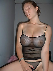 Playing with big tits and masturbating