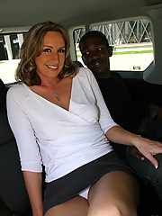 Cougar MILF fucks young black in van eats cum