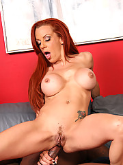 Redhead Cougar MILF does interracial DP eats cum