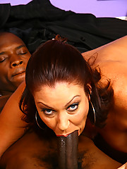 Brunette cougar MILF fucks & sucks huge black dick